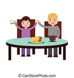 boy and girl eating breakfast