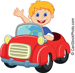 Vector illustration of boy cartoon in the red car