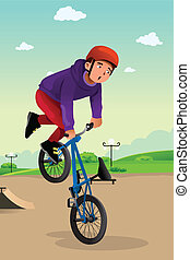 A vector illustration of boy doing stunt on a BMX bike