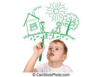 boy drawing his family by felt-tip pen, collage