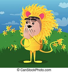 Boy dressed as lion with hands over mouth.