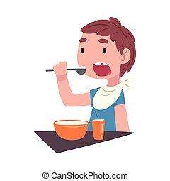 Boy Eating Breakfast at the Table, Cute Child Daily Routine Activity Cartoon Style Vector Illustration on White Background