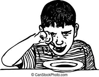 black and white image of a boy who eats