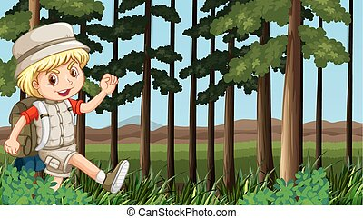 Boy hiking in the woods