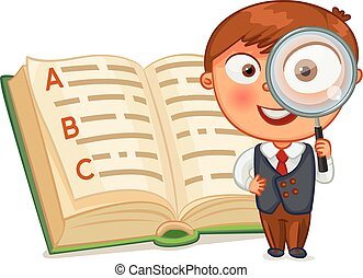 Schoolboy is looking for words in the encyclopedia. Little boy looking through a magnifying glass. Funny cartoon character. Vector illustration. Isolated on white background. Set
