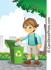 A vector illustration of a boy recycling a piece of paper