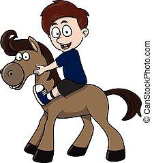 boy ride horse cartoon illustration