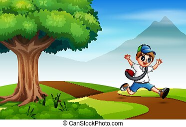 Boy running on the road to school