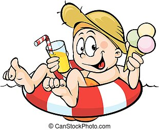 boy sits on a lifebuoy, eating ice cream and drinking juice - vector illustration isolated on white background