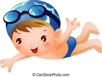 A boy is swimming wearing blue swimming costume and cap.