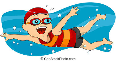 Boy Swimming with Clipping Path