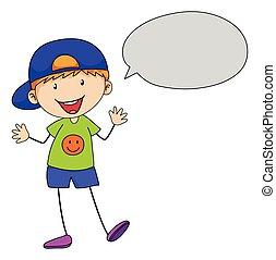 Boy speaking with speech bubble