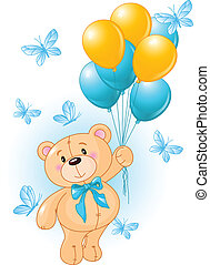 Boy Teddy Bear Hanging from a Balloons