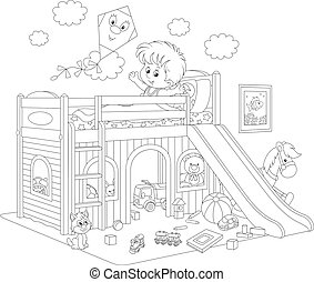 Black and white vector illustration of a little boy waking up and stretching himself in his bed at home