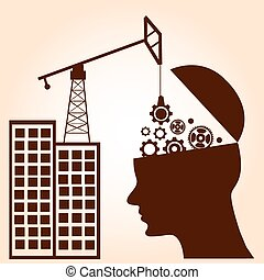 Brain gears construction. Intelligence Concept. Business concept