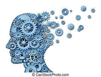 Brain loss and losing memory and intelligence due to neurological trauma and head injury or alzheimers disease caused by aging with gears and cogs in the shape of a human face showing cognitive loss and thinking function.