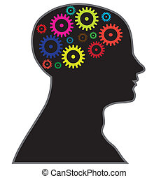 moving of gears reflecting processing of information in brain