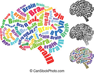 illustration of text brain with brain shape