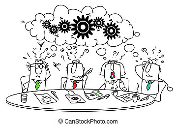 This group of managers around the table tries to find a solution.