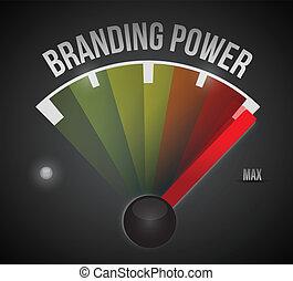 branding power speedometer illustration design over a black background