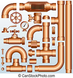 Collection of detailed Brass Pipeline construction pieces:Vector pipes, fittings, valves, faucet, ells , flange parts...
