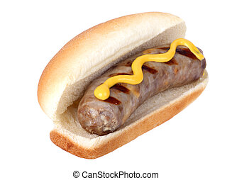 Grilled bratwurst on a bun with mustard isolated on white