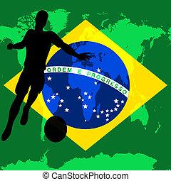 Brazil 2014, Brazilian flag vector illustration for an international football / soccer championship