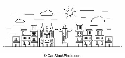 Brazil panorama. Brazil vector illustration in outline style with buildings and city architecture. Welcome to Brazil.