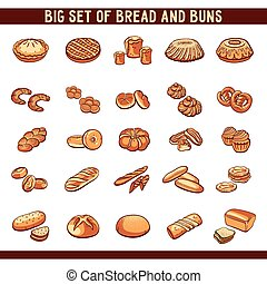Big set of hand drawn bread and buns on white background. Vector illustration.