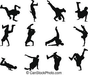 break-dance silhouette set