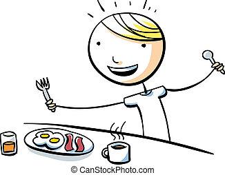 A cartoon boy is happy to eat a big breakfast.