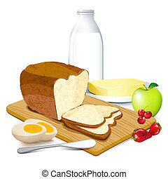 illustration of breakfast meal with bread, butter, egg, milk and fruits