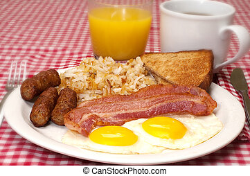 Breakfast plate with eggs sunny side up, bacon, link sausage, hash browns, toast, coffee, and orange juice.