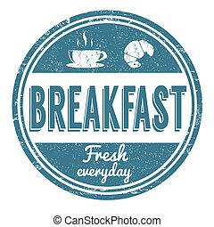 Breakfast grunge rubber stamp on white background, vector illustration