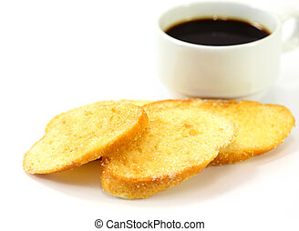 breakfast with toasts coffee on white