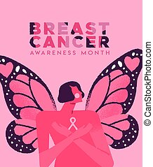 Breast cancer card of pink butterfly wing woman