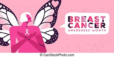 Breast cancer month card butterfly wing woman