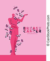 Breast cancer month pink butterfly woman card