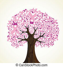 Pink breast cancer ribbon concept tree. Vector illustration layered for easy manipulation and custom coloring.