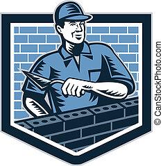 Illustration of a birck layer tiler plasterer mason masonry construction worker wth trowel done in retro style.