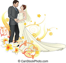 Bride and groom looking into each others eyes dancing abstract floral background