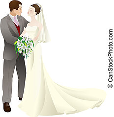A vector illustration of a bride and groom in love, getting married on their wedding day.