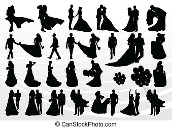 Bride and groom in wedding silhouettes illustration collection background