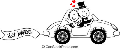 bride and groom on car isolated