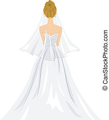 Back View Illustration of a Lovely Bride in Her Wedding Gown