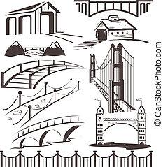 A clip art collection of various bridges