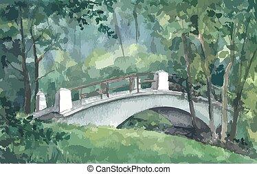 Bridge in a park, watercolor