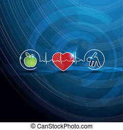 Bright cardiology symbols, healthy living concept. Healthy food and fitness leads to healthy heart and life.