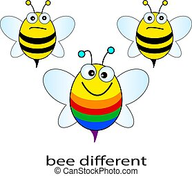 Bright colorful bee cartoon, be different concept