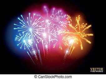 Bright Fireworks Display Vector